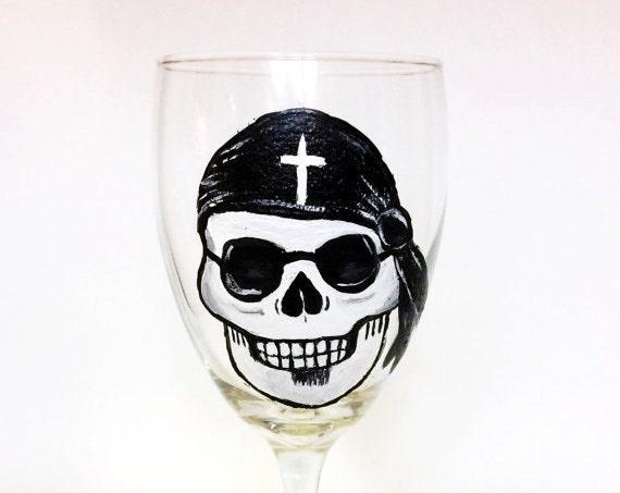 Hand painted Sugar Skull Wine Glasses, Cinco De Mayo Wine glass, Dia de Los Muertos art,