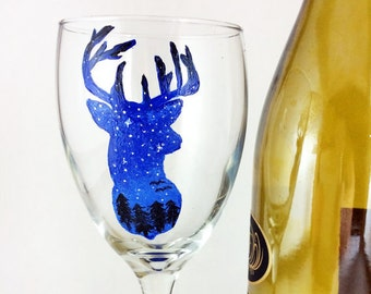 Hand painted  Deer Silhouette wine glasses - 10.25oz. wine glasses