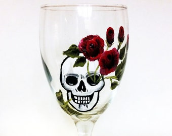 Hand Painted skull wine glasses, Dia de Los Muertos, All Souls Day,  10.25oz.