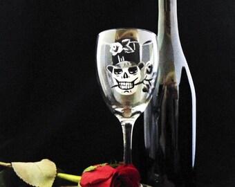 Skull wine glasses, Día de los Muertos, Day of the dead, 10.25oz wine glasses