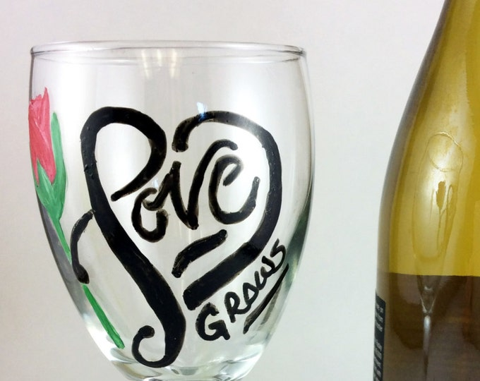 Valentines Day Love wine glasses, Hand painted Love Glasses, 10.25oz.
