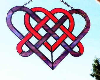 """Stained Glass Celtic Heart sun-catcher - 11"""" x 7 1/2"""""""