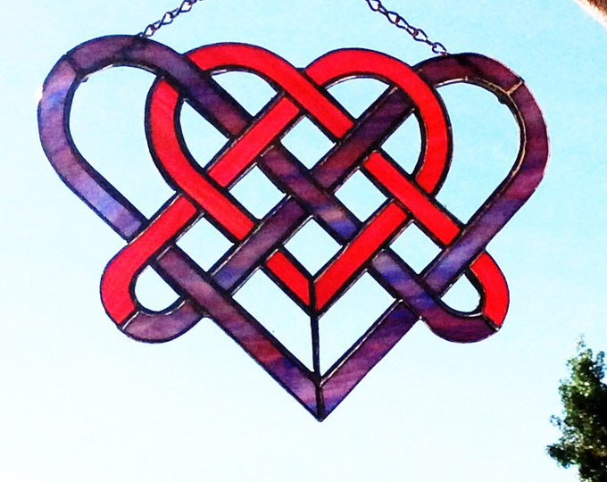 "Stained Glass Celtic Heart sun-catcher - 11"" x 7 1/2"""