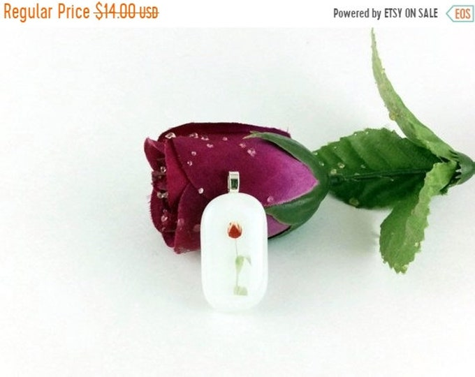 Holiday Sale Rose pendant necklace, fused glass pendant, womens accessories, Mothers day gifts, pendant necklace, glass jewelry, gift for mo