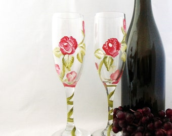 Champagne floral Glasses, Hand painted champagne glasses, 6oz.