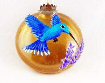 "Hand painted Hummingbird ornament, Hummingbird Christmas ornament, 3 1/4"""