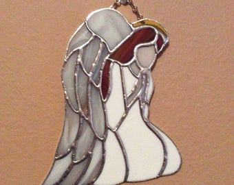 """Stained Glass Angel Sun-Catcher, 8"""" high by 6 1/2"""" wide, traditional Tiffany copper foil method"""