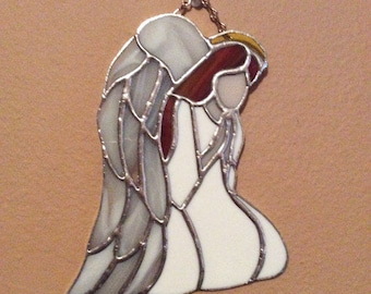 """Praying Angel, Stained Glass Angel Sun-Catcher, 8"""" high by 6 1/2"""" wide, traditional Tiffany copper foil method"""