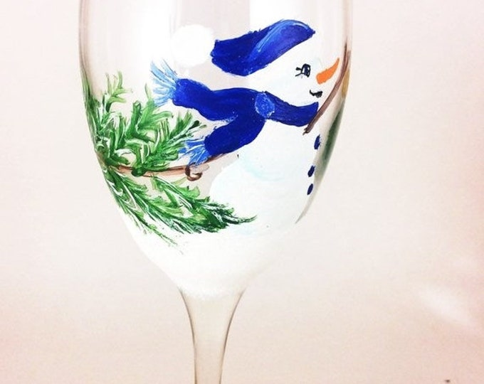 Holiday Sale Snowman Wine glass, Snowman Glassware, Christmas Glass, Holiday glassware, Winter wine glass, Wine lover gifts, painted wine gl