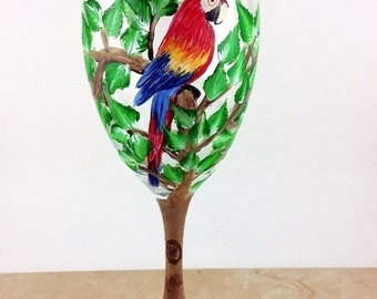 Holiday Sale Painted Wine glasses, Custom Wine glass, Bird wine glasses, New home gift, Gift for mom, Parrots, wine lover gift, unique gift,