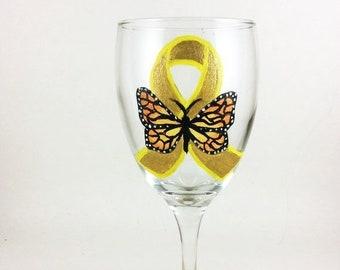 Holiday Sale Ribbon wine glass, Awareness Ribbon, Butterfly Ribbon, Wine glasses, St. Baldricks, Childhood Cancer, Gold awareness ribbon, wi