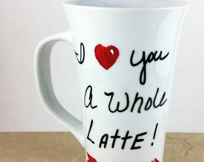 Hand Painted porcelain Latte mug, Large 16oz. Coffee mug