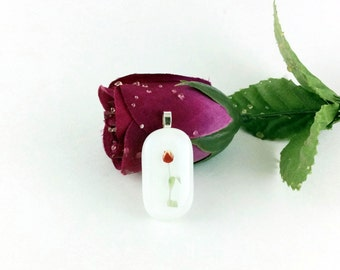 Rose pendant necklace, fused glass pendant, womens accessories, Mothers day gifts, pendant necklace, glass jewelry, gift for mom , jewelry