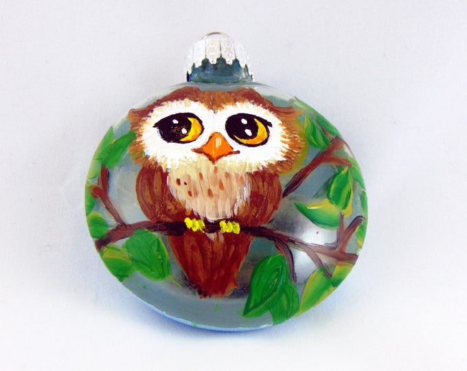 Hand painted Owl ornament - Owl Christmas ornament