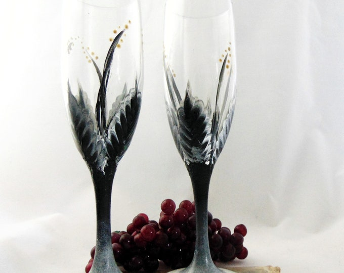 Champagne glasses, Toasting Flutes, Hand painted Champagne glasses, 6oz.