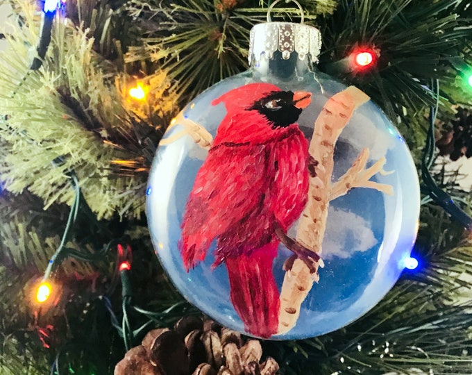Hand painted Cardinal ornament, Cardinal Christmas ornament, 3 1/4""