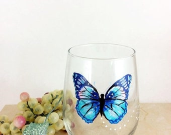 Holiday Sale Butterfly wine glass, stemless wine glass, butterfly home decor, Best wine gift, Gift idea for mom, housewarming gifts, Drinkin