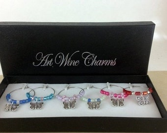Holiday Sale Wine Glass Charms, Butterfly wine charms, Wine Lover Gift, Wine Charms, Wine Gift, Birthday Gift. BFF Gift, Party Favors, Barwa