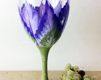 Purple Flower Wine glass, Hand Painted wine glass, 10.25oz wine glass