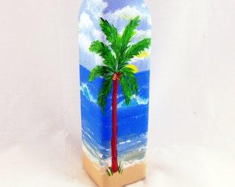 """Olive Oil Bottle or soap dispenser - Hand painted Ocean Scene, 12"""" high - holds 16oz."""