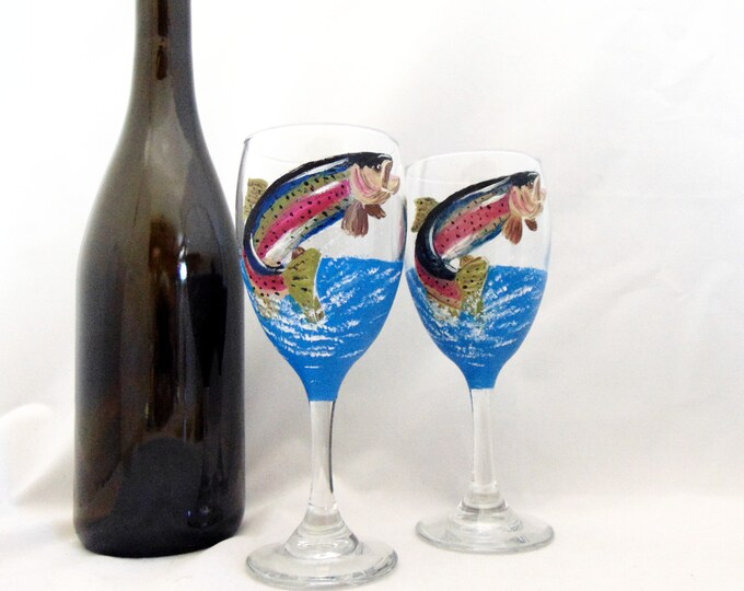 Rainbow trout wine glasses, Hand Painted Trout Glasses, 10.25oz.