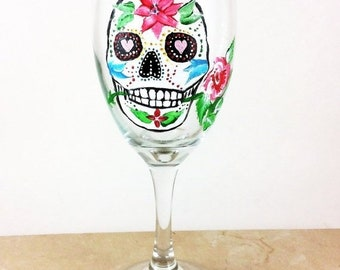 Holiday Sale Skull wine glasses, Sugar Skulls, Dia de Los Muertos, Custom wine glass, All souls Day, Day of the Dead, Gift for him, wedding