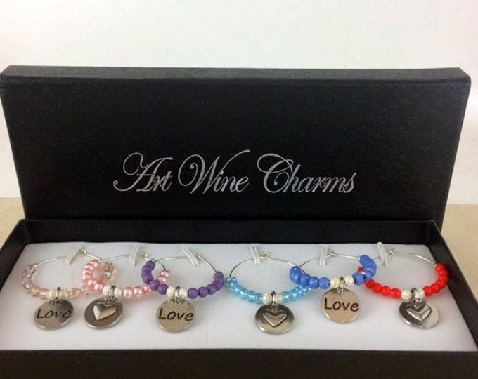 Holiday Sale Wine Glass Charms, Love Wine Charms, Wine Lover Gift, Wine Charms, Wine Gift,  BFF Gift, Heart wine charms, Heart love charms,