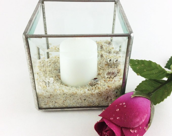 """Stained Glass Votive Candle Holder, 3"""" Sq. traditional Tiffany Copper Foil Method with lead solder. Sand and Candle included."""