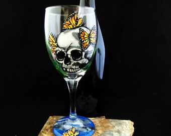Sugar Skull wine glasses, Día de los Muertos, Day of the Dead wine glasses
