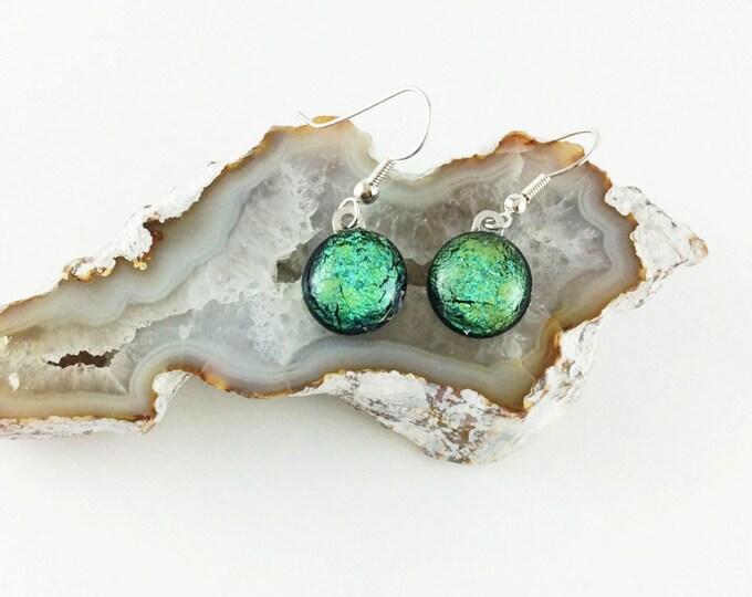 Turquoise Earrings, Dangle earrings, Dichroic earrings, fused glass earrings, glass earrings, Gift for her, gift ideas, Custom jewelry
