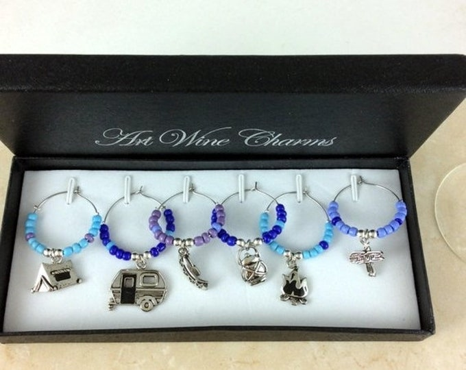 Holiday Sale Wine Glass Charms, Wine Lover Gift, Wine Charms, Wine Gift, Camping charms, Custom wine charms, coworker gift, Best friend gift