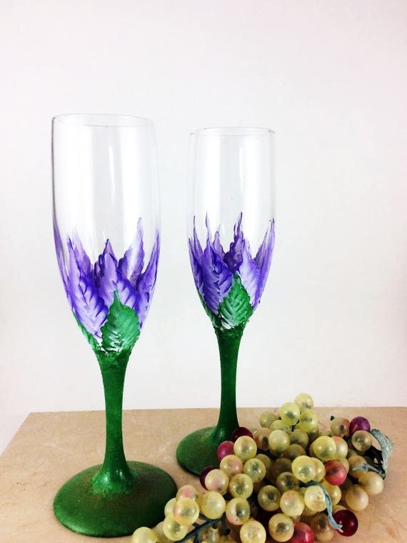 Floral Champagne Glasses Hand Painted, Set of 2 Toasting Flutes, 60z. champagne glasses, champagne gift, gift for