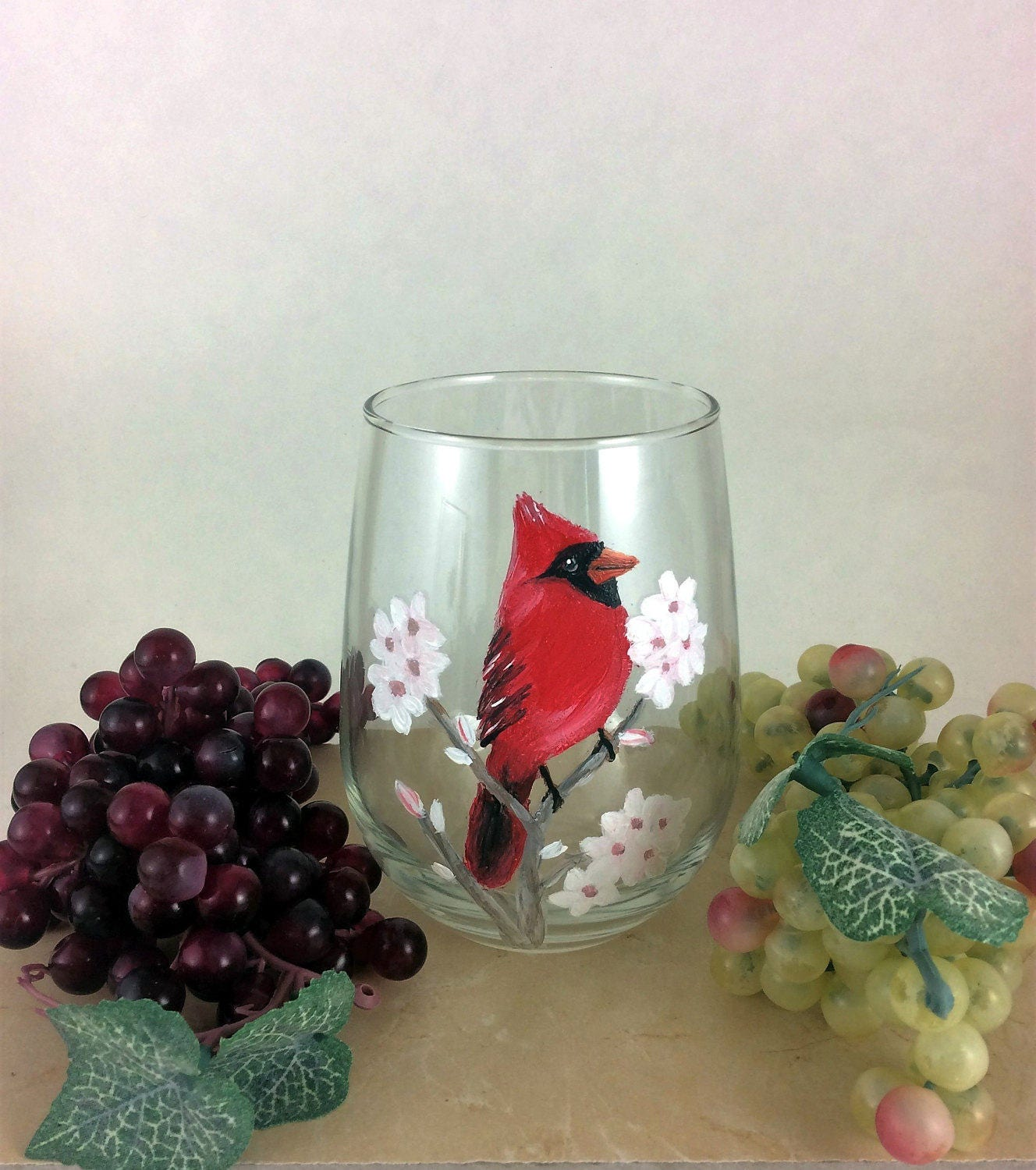 Holiday Sale Stemless Wine glass, Wine Lover Gift, Red Cardinal Bird ...