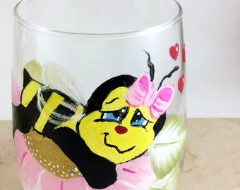 Bumble bee glassware, Best wine gift, Wine Lover gift, Drinking glasses, Bumble Bee Gifts, Valentine Gifts, Gift for her, Bee lover gift