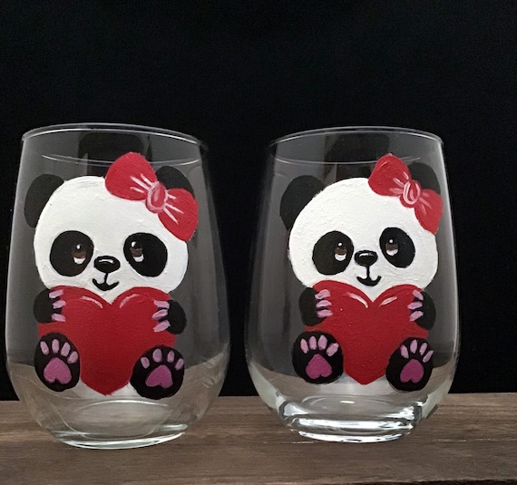 Valentine's Day Panda Bear Wine Glasses, Red Heart Valentines wine Glass,  Drinking glasses, 17oz. Stemless Wine Glass, Wine Lover Gift