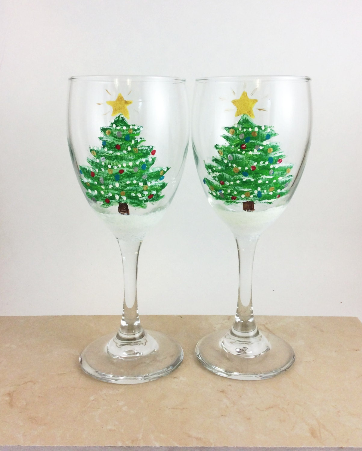 Hand Painted Christmas Wine Glass Christmas Tree Wine Glass