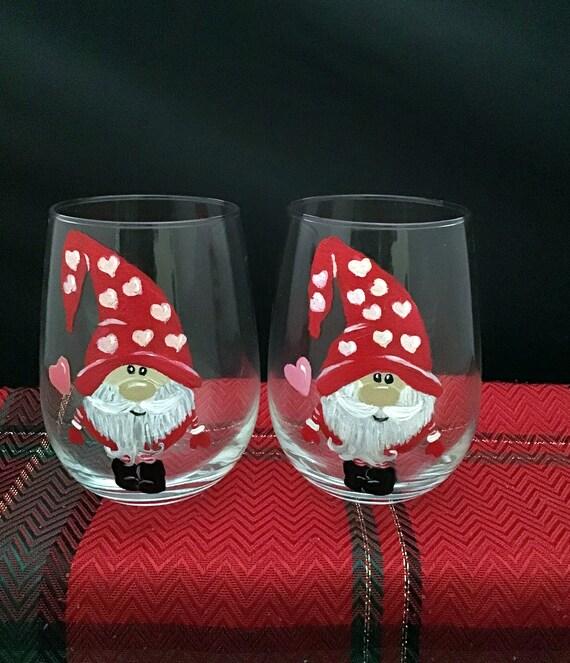 Gnome Wine Glasses, Christmas Gnomes, Valentine Gnomes, Christmas Drinking glasses, 17oz. Gnome Wine Glasses