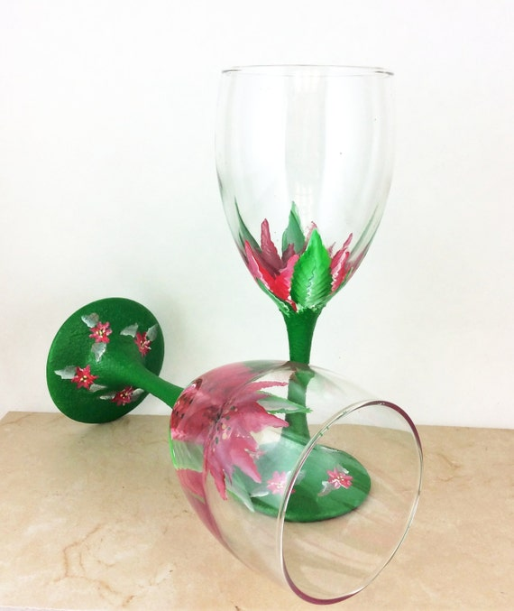 Poinsettia Wine Glasses Christmas Flower Wine Glasses Hand Painted 10 25oz Gift For Christmas Gift