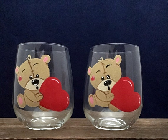 Valentine's Day Teddy Bear Wine Glasses, Red Heart Valentines wine Glass,  Drinking glasses, 17oz. Stemless Wine Glass, Wine Lover Gift