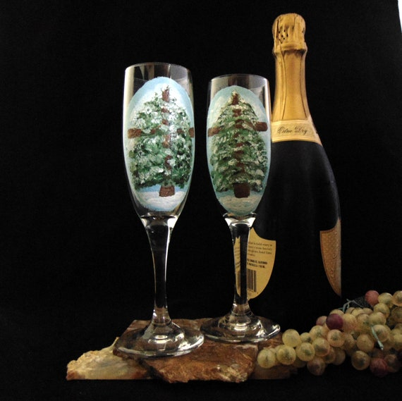 Champagne Glasses set, Set of 2 champagne glasses, Christmas Tree Easter Glasses, Toasting flutes, Hand Painted 6oz.