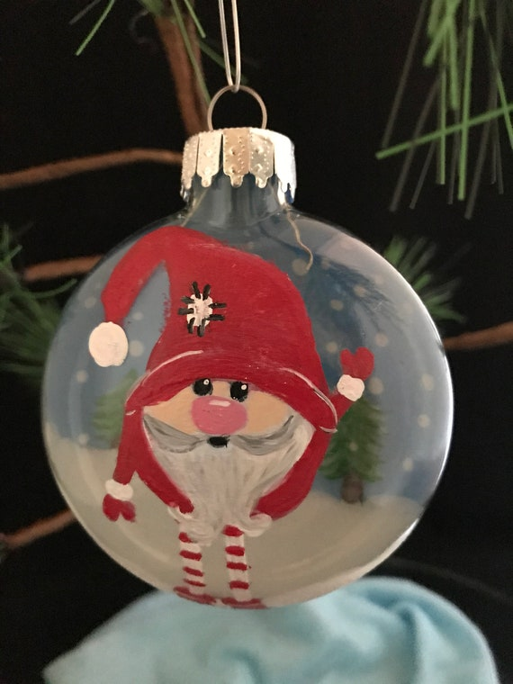 """Hand painted Gnome ornament, Gnome Christmas ornament, 3 1/4 Christmas Gnome ornament"""""""