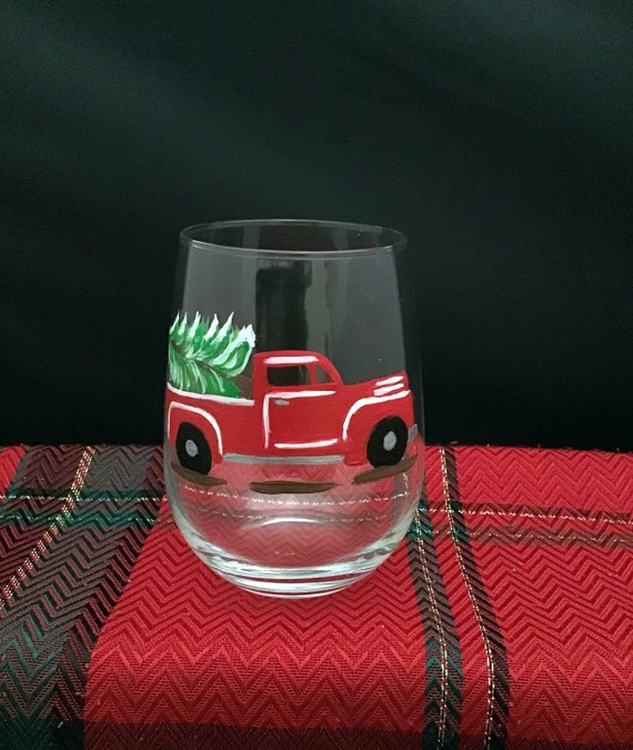 Small Red Truck Christmas Glasses, Christmas Drinking glasses, 17oz. Red Truck Christmas Glasses,