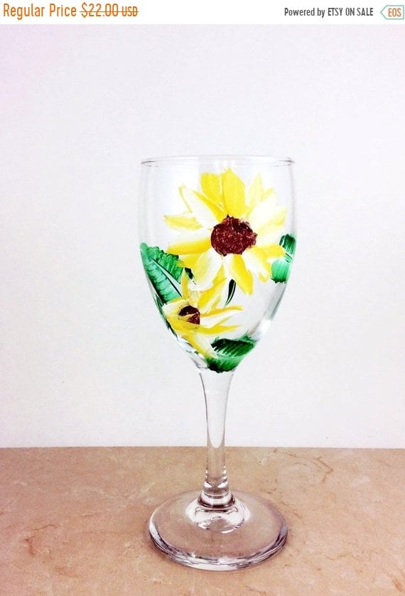 holiday sale sunflower glasses painted wine glasses sunflower gifts sunflower decor bridal shower gift bridesmaids gift wine lover gif