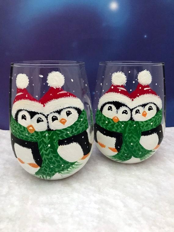 Christmas Wine Glass, Christmas penguins, drinking glasses, Hand Painted Christmas Stemless Wine glass, wine lover gift, stemless wine glass