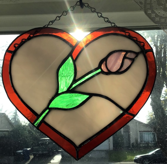 Stained Glass Heart, Heart Suncatcher, Tiffany Style, Rose Bud Heart, Stained glass panel, Window Decor, Valentine's Rose, Mother's Day Gift