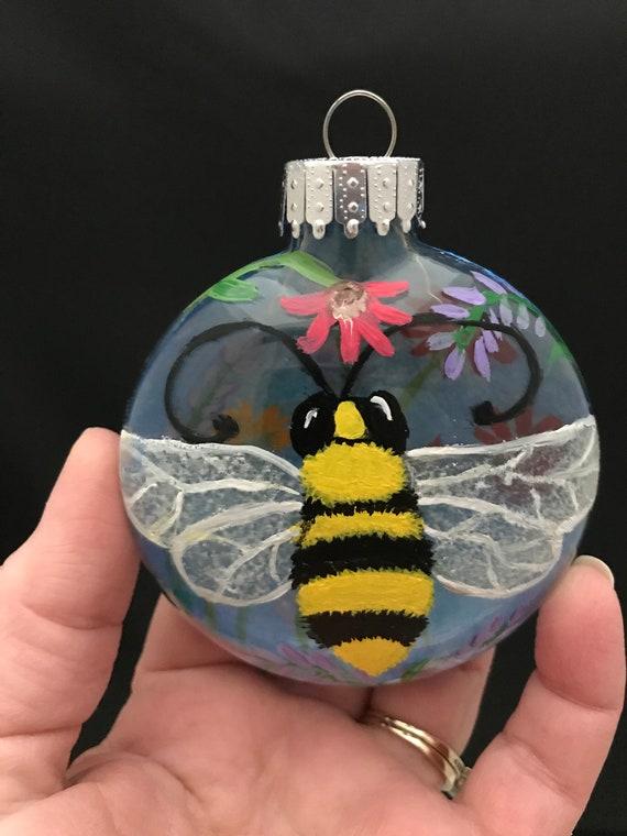 "Bumble Bee ornament, Bumble bee Christmas ornament, Christmas Ornament, Unique Ornament, 3 1/4"" ornament, Bee Ornament, Disc Ornaments"