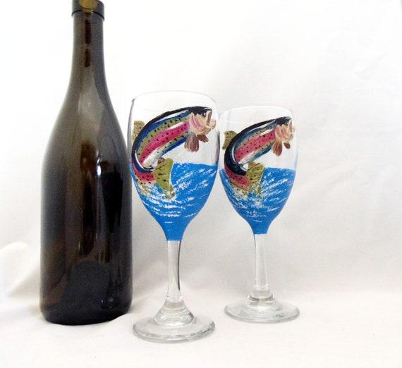 Rainbow trout wine glasses, Hand Painted Trout Glasses, 10.25oz.