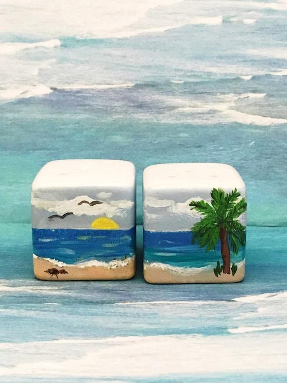 """Salt and Pepper shaker Set, 2"""" high, Oceanic Salt and Pepper Shakers, Table Decor, beachy home decor, Oceanic table Decor,"""