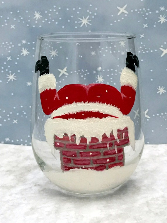 Bottoms up Santa Wine glasses, Santa stuck in the Chimney glasses, Hand Painted Holiday Glasses, wine lover gifts