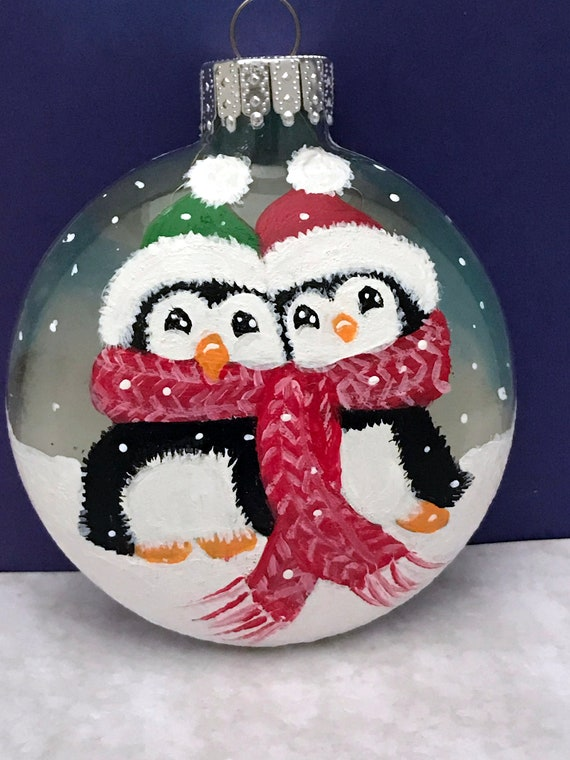 Penguin Christmas Ornament, Hand Painted Christmas penguins, Glass ornament, Christmas Ornaments, Glass Disc Ornaments